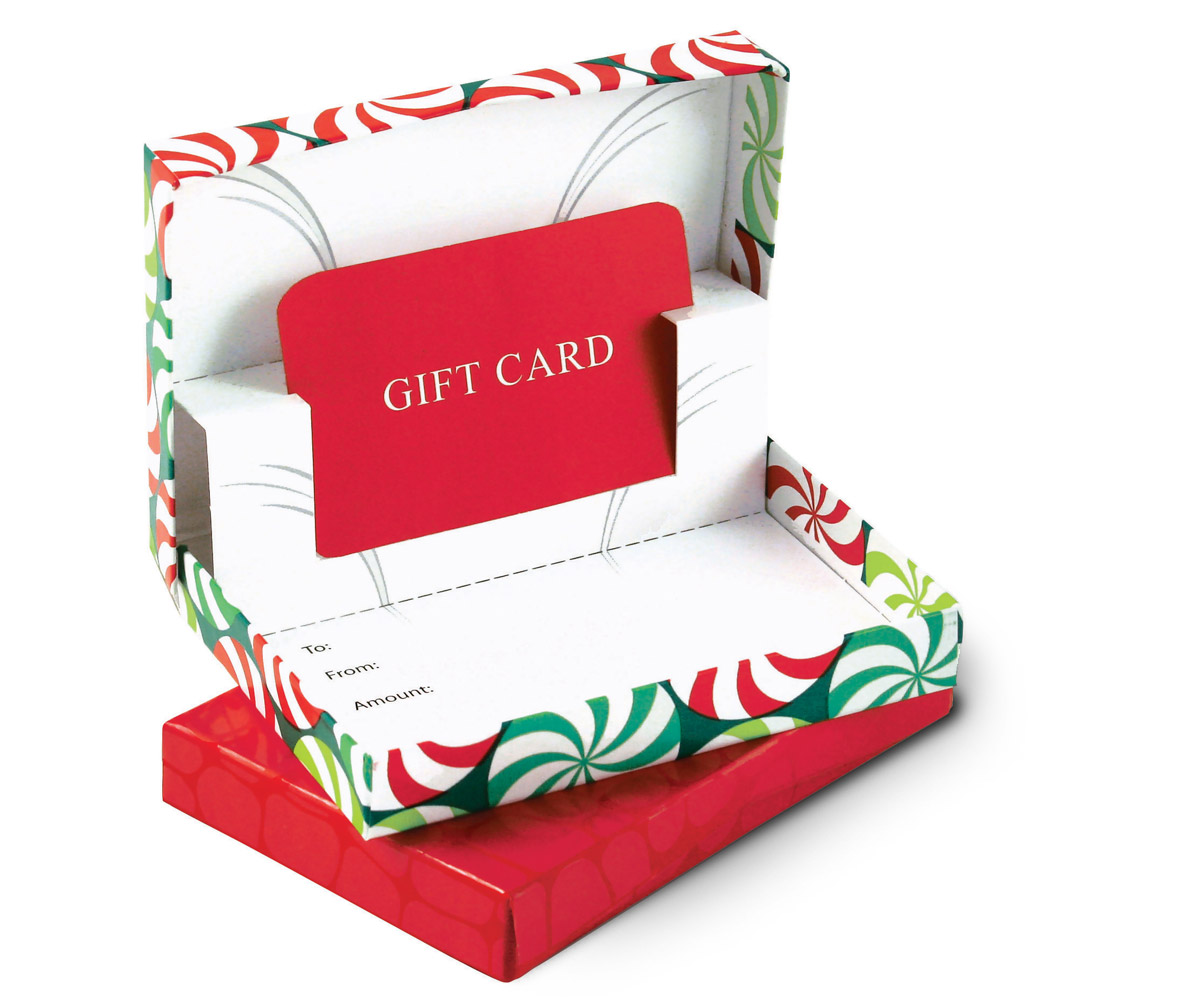 Gift card boxes retail presentation for all cards